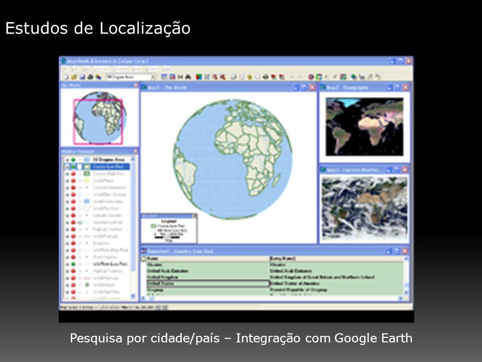 Estudos de Localização Pesquisa por cidade/país – Integração com Google Earth