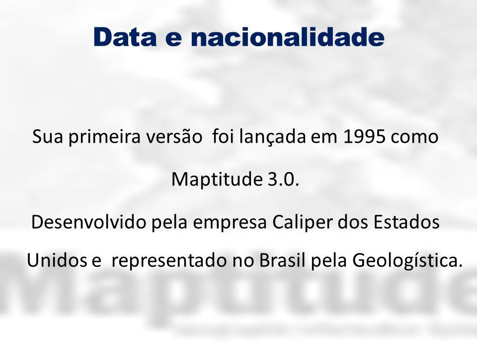 Data e nacionalidade Sua primeira versão foi lançada em 1995 como Maptitude 3.0. Desenvolvido pela empresa Caliper dos Estados Unidos e representado n