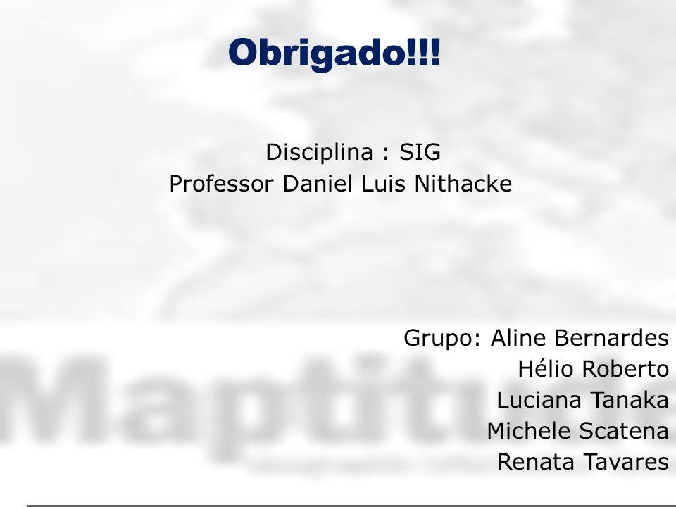 Obrigado!!! Disciplina : SIG Professor Daniel Luis Nithacke Grupo: Aline Bernardes Hélio Roberto Luciana Tanaka Michele Scatena Renata Tavares
