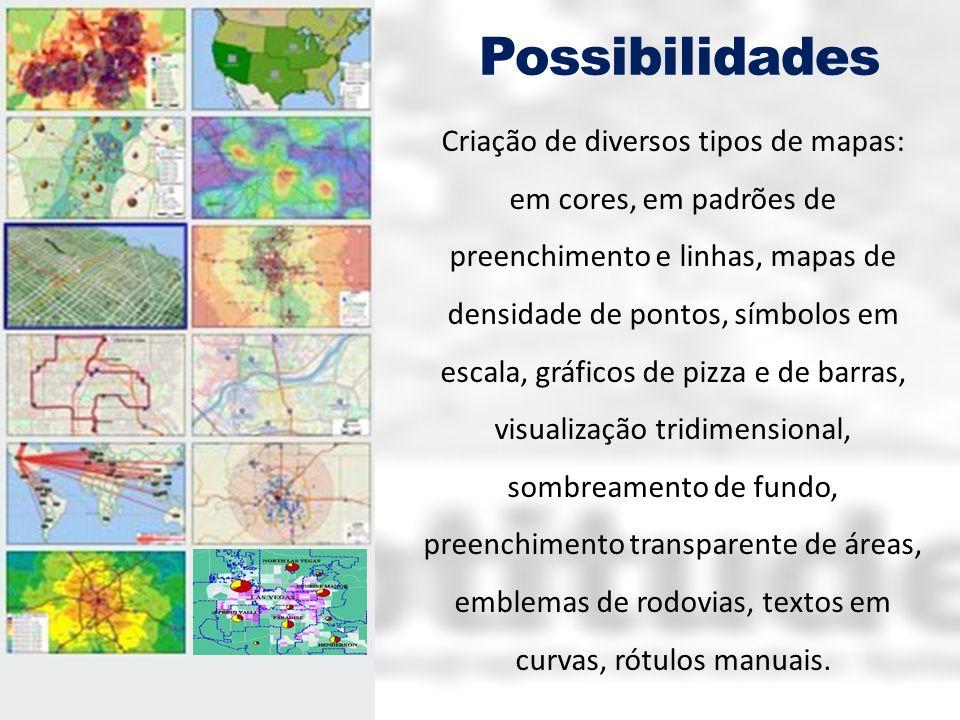 Possibilidades Criação de diversos tipos de mapas: em cores, em padrões de preenchimento e linhas, mapas de densidade de pontos, símbolos em escala, g