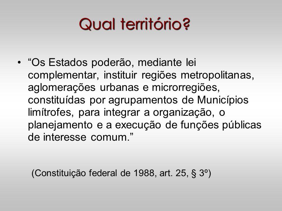 Cooperação Intermunicipal 1.Regiões Metropolitanas (CF-88, artigo 25, §3°, além de já estarem presentes na Constituição anterior) 2.Regiões Integradas de Desenvolvimento Econômico (CF-88, artigo 43) 3.Consórcios Intermunicipais (competência de legislar sobre assuntos de interesse local - CF-88, artigo30, I CF-88, artigo 241 – EC 19 de 15.06.98 e Lei 11.107/05
