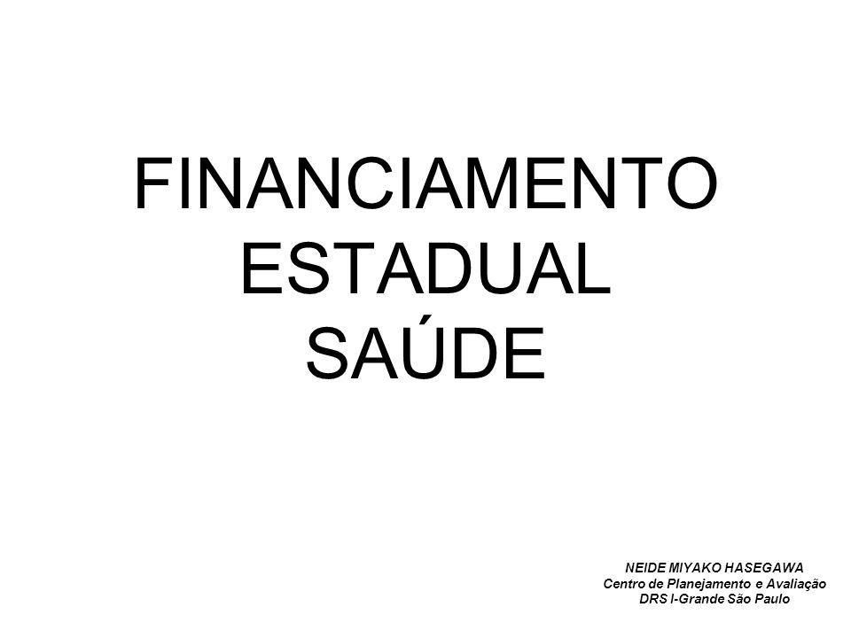 FINANCIAMENTO ESTADUAL SAÚDE NEIDE MIYAKO HASEGAWA Centro de Planejamento e Avaliação DRS I-Grande São Paulo
