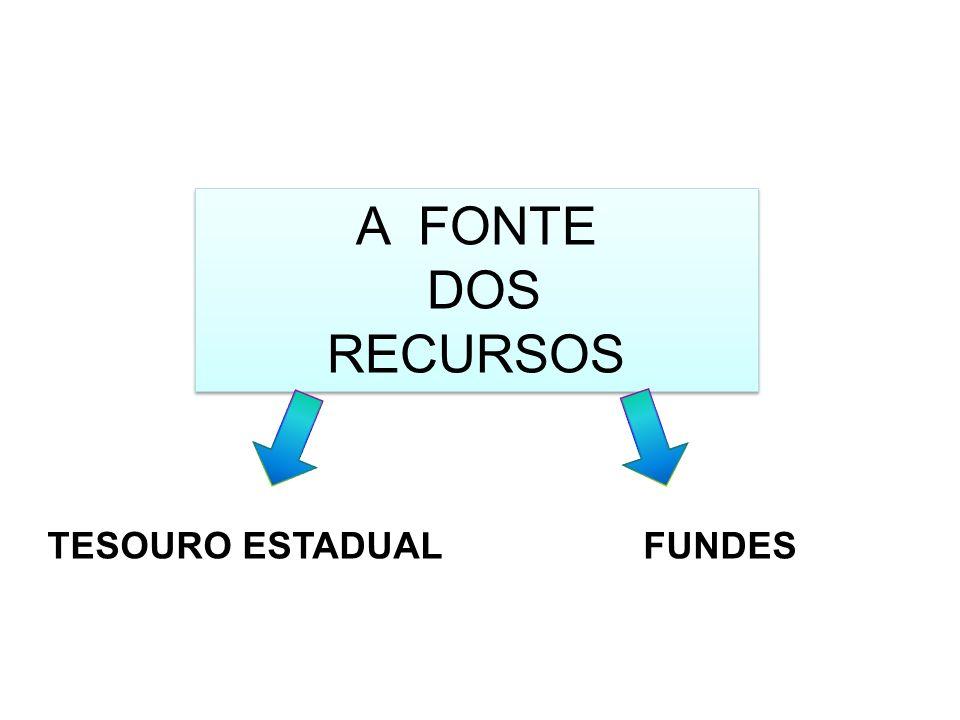 A FONTE DOS RECURSOS A FONTE DOS RECURSOS TESOURO ESTADUAL FUNDES