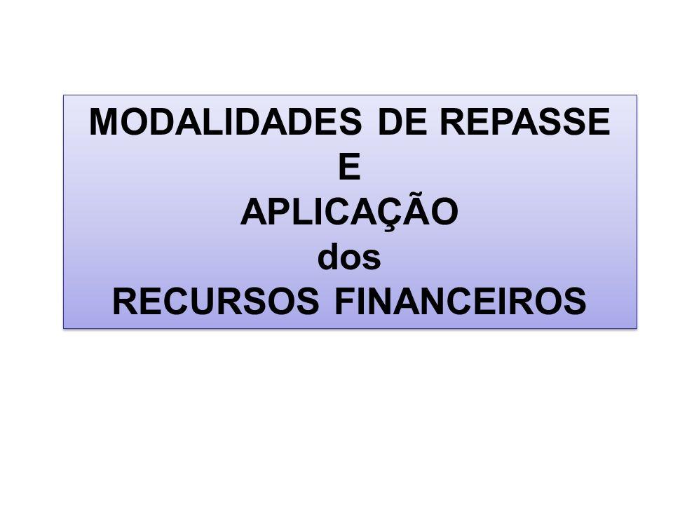 MODALIDADES DE REPASSE E APLICAÇÃO dos RECURSOS FINANCEIROS MODALIDADES DE REPASSE E APLICAÇÃO dos RECURSOS FINANCEIROS