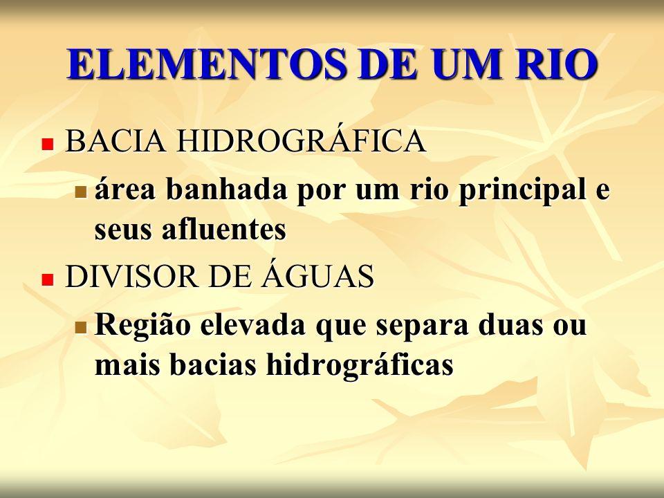ELEMENTOS DE UM RIO BACIA HIDROGRÁFICA BACIA HIDROGRÁFICA área banhada por um rio principal e seus afluentes área banhada por um rio principal e seus