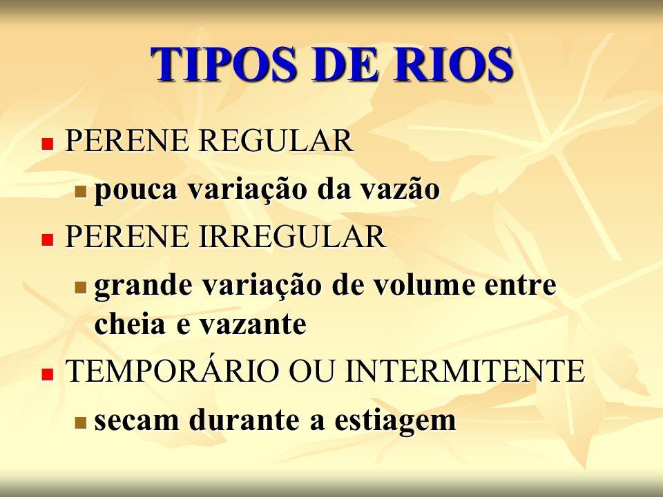 TIPOS DE RIOS PERENE REGULAR PERENE REGULAR pouca variação da vazão pouca variação da vazão PERENE IRREGULAR PERENE IRREGULAR grande variação de volum