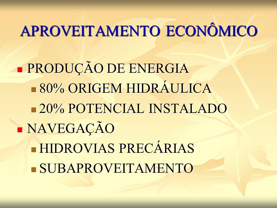 APROVEITAMENTO ECONÔMICO PRODUÇÃO DE ENERGIA PRODUÇÃO DE ENERGIA 80% ORIGEM HIDRÁULICA 80% ORIGEM HIDRÁULICA 20% POTENCIAL INSTALADO 20% POTENCIAL INS