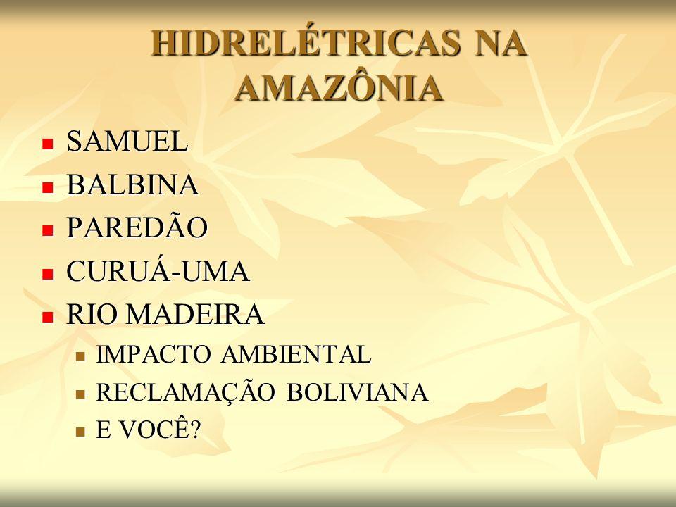 HIDRELÉTRICAS NA AMAZÔNIA SAMUEL SAMUEL BALBINA BALBINA PAREDÃO PAREDÃO CURUÁ-UMA CURUÁ-UMA RIO MADEIRA RIO MADEIRA IMPACTO AMBIENTAL IMPACTO AMBIENTA