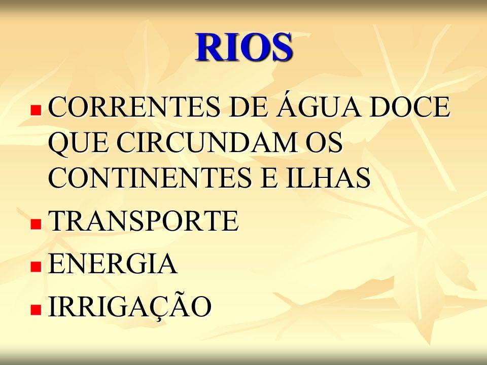 RIOS CORRENTES DE ÁGUA DOCE QUE CIRCUNDAM OS CONTINENTES E ILHAS CORRENTES DE ÁGUA DOCE QUE CIRCUNDAM OS CONTINENTES E ILHAS TRANSPORTE TRANSPORTE ENE