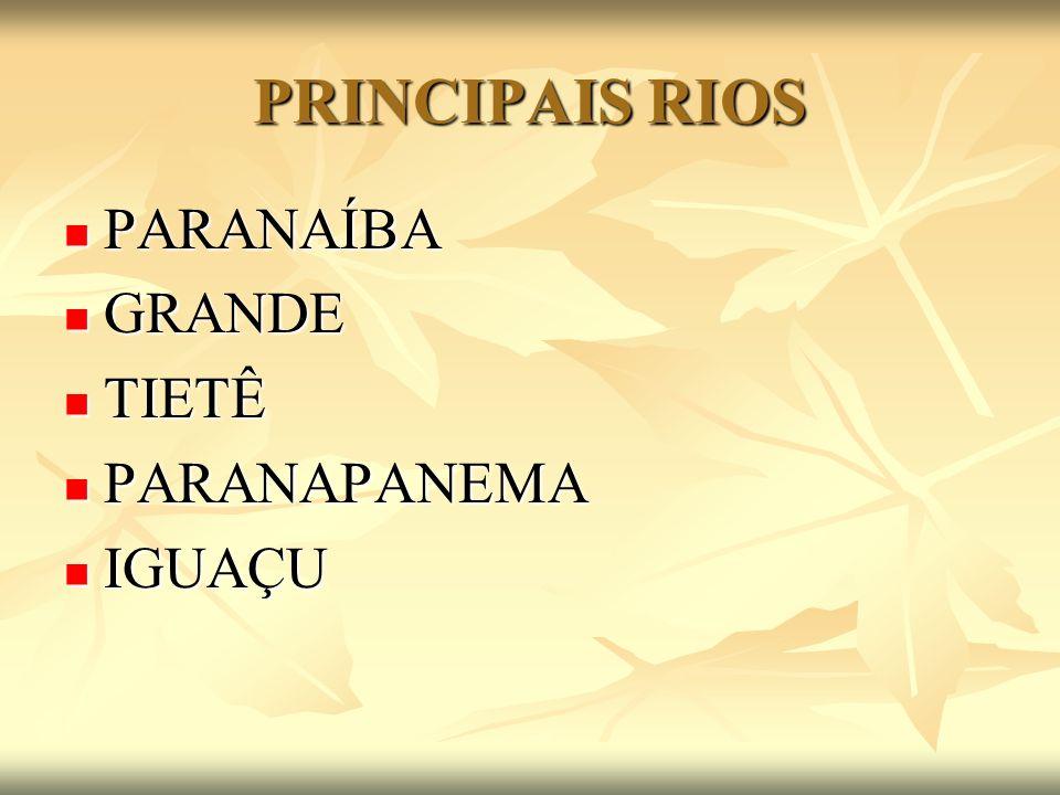 PRINCIPAIS RIOS PARANAÍBA PARANAÍBA GRANDE GRANDE TIETÊ TIETÊ PARANAPANEMA PARANAPANEMA IGUAÇU IGUAÇU