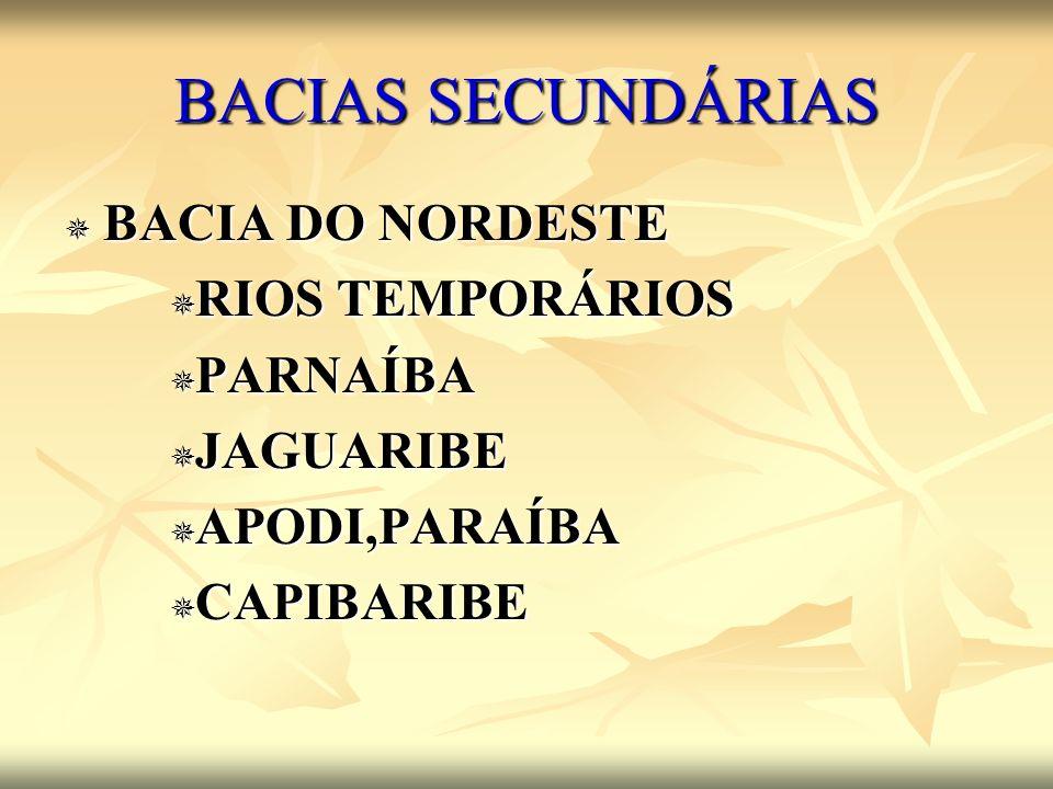 BACIAS SECUNDÁRIAS BACIA DO NORDESTE BACIA DO NORDESTE RIOS TEMPORÁRIOS RIOS TEMPORÁRIOS PARNAÍBA PARNAÍBA JAGUARIBE JAGUARIBE APODI,PARAÍBA APODI,PAR