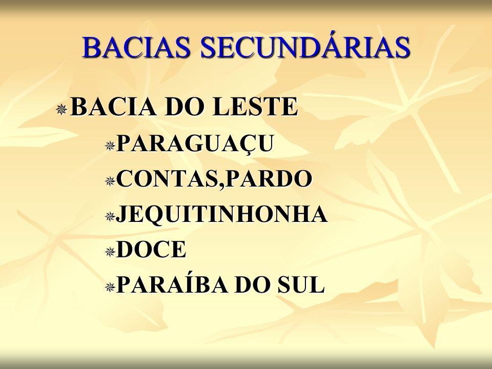 BACIAS SECUNDÁRIAS BACIA DO LESTE BACIA DO LESTE PARAGUAÇU PARAGUAÇU CONTAS,PARDO CONTAS,PARDO JEQUITINHONHA JEQUITINHONHA DOCE DOCE PARAÍBA DO SUL PA