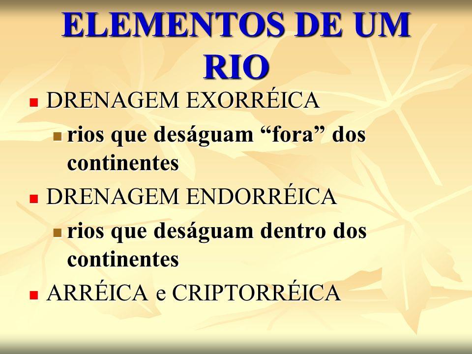 ELEMENTOS DE UM RIO BACIA HIDROGRÁFICA BACIA HIDROGRÁFICA área banhada por um rio principal e seus afluentes área banhada por um rio principal e seus afluentes DIVISOR DE ÁGUAS DIVISOR DE ÁGUAS Região elevada que separa duas ou mais bacias hidrográficas Região elevada que separa duas ou mais bacias hidrográficas