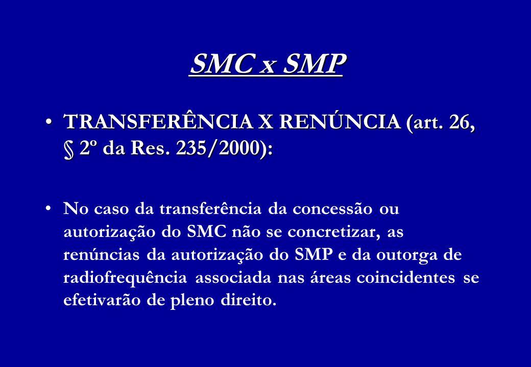SMC x SMP TRANSFERÊNCIA X RENÚNCIA (art. 26, § 2º da Res. 235/2000):TRANSFERÊNCIA X RENÚNCIA (art. 26, § 2º da Res. 235/2000): No caso da transferênci