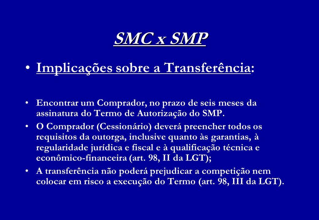 SMC x SMP Implicações sobre a Transferência: Encontrar um Comprador, no prazo de seis meses da assinatura do Termo de Autorização do SMP. O Comprador