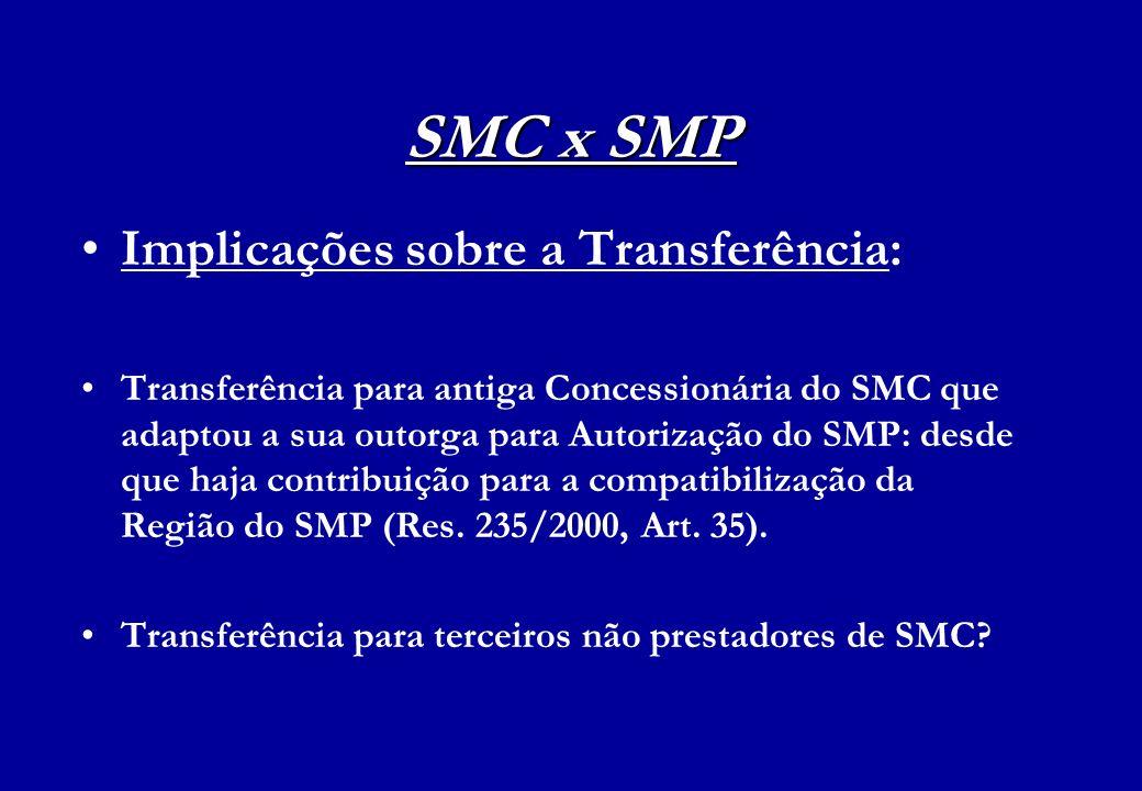 SMC x SMP Implicações sobre a Transferência: Transferência para antiga Concessionária do SMC que adaptou a sua outorga para Autorização do SMP: desde