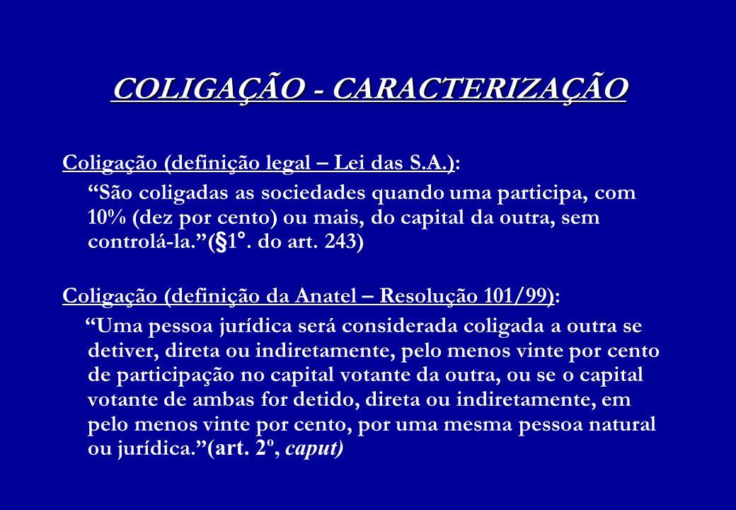 COLIGAÇÃO - CARACTERIZAÇÃO Coligação (definição legal – Lei das S.A.): São coligadas as sociedades quando uma participa, com 10% (dez por cento) ou ma