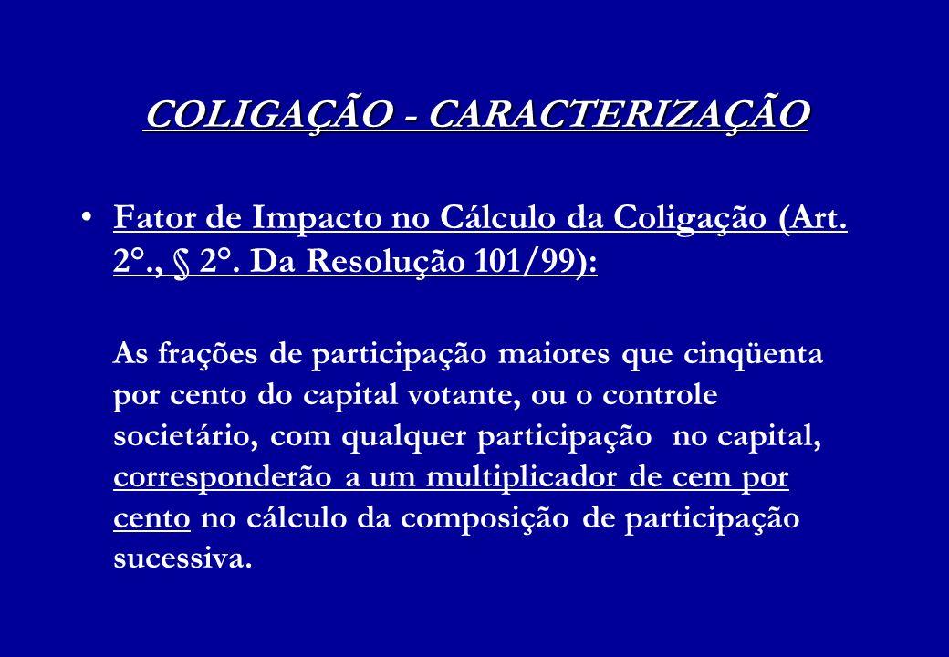 COLIGAÇÃO - CARACTERIZAÇÃO Fator de Impacto no Cálculo da Coligação (Art. 2°., § 2°. Da Resolução 101/99): As frações de participação maiores que cinq