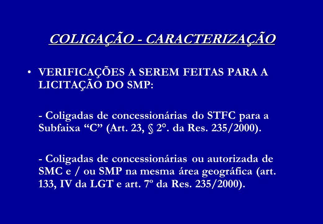 COLIGAÇÃO - CARACTERIZAÇÃO VERIFICAÇÕES A SEREM FEITAS PARA A LICITAÇÃO DO SMP: - Coligadas de concessionárias do STFC para a Subfaixa C (Art. 23, § 2