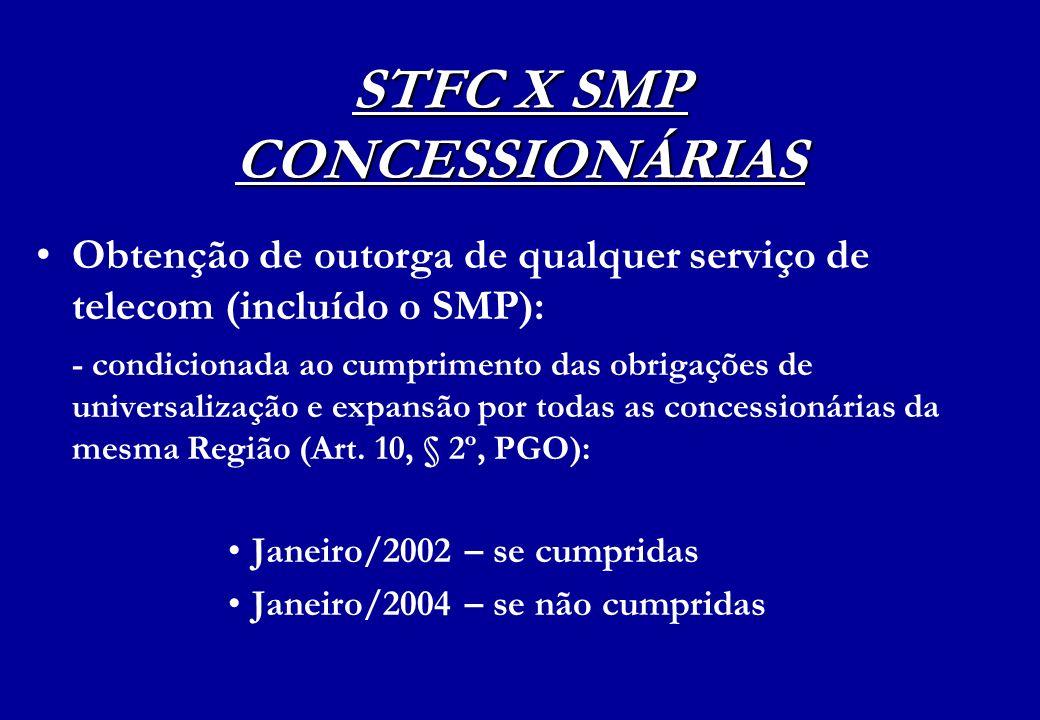 STFC X SMP CONCESSIONÁRIAS Obtenção de outorga de qualquer serviço de telecom (incluído o SMP): - condicionada ao cumprimento das obrigações de univer
