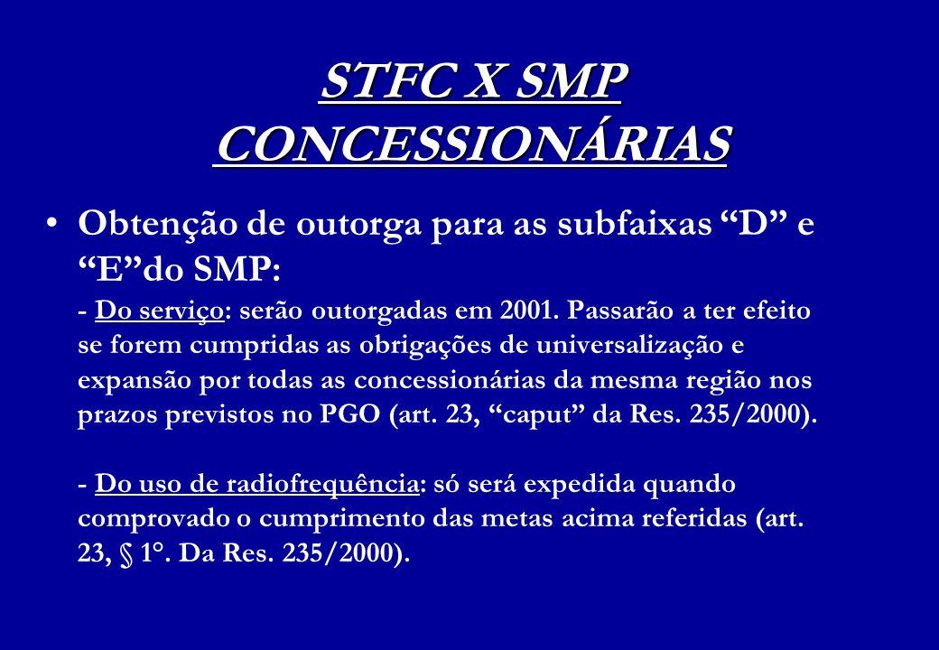 STFC X SMP CONCESSIONÁRIAS Obtenção de outorga para as subfaixas D e Edo SMP: - Do serviço: serão outorgadas em 2001. Passarão a ter efeito se forem c