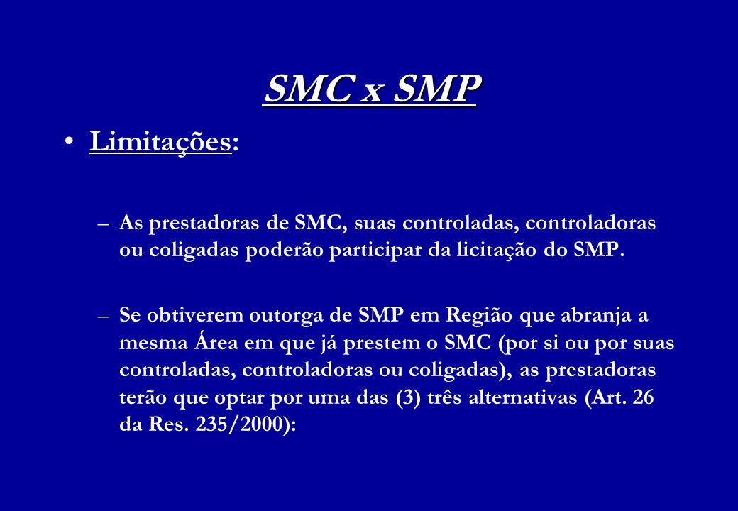 SMC x SMP Limitações: –As prestadoras de SMC, suas controladas, controladoras ou coligadas poderão participar da licitação do SMP. –Se obtiverem outor