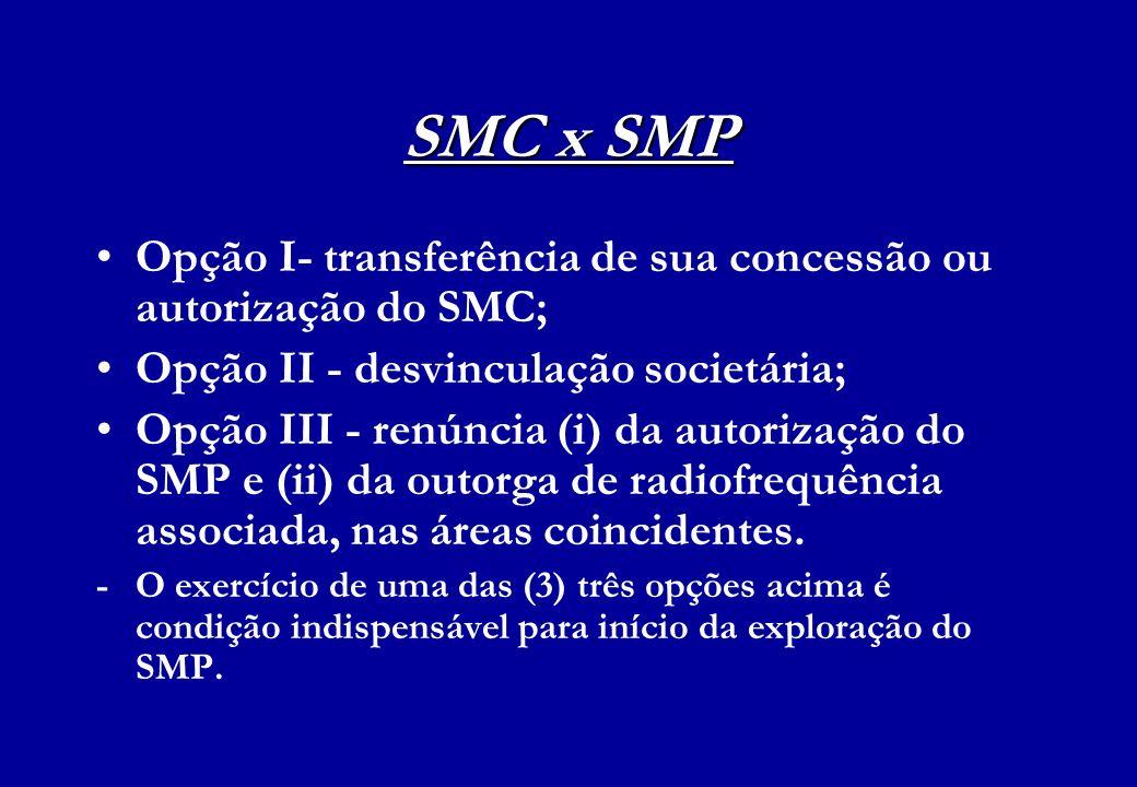 SMC x SMP Opção I- transferência de sua concessão ou autorização do SMC; Opção II - desvinculação societária; Opção III - renúncia (i) da autorização