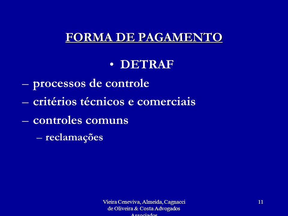 Vieira Ceneviva, Almeida, Cagnacci de Oliveira & Costa Advogados Associados 11 FORMA DE PAGAMENTO DETRAF –processos de controle –critérios técnicos e comerciais –controles comuns –reclamações