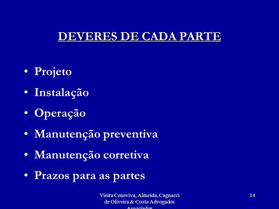 Vieira Ceneviva, Almeida, Cagnacci de Oliveira & Costa Advogados Associados 14 DEVERES DE CADA PARTE Projeto Instalação Operação Manutenção preventiva Manutenção corretiva Prazos para as partes