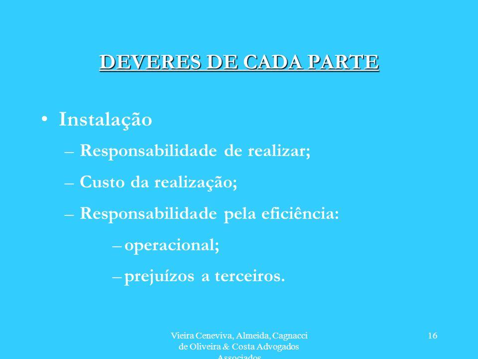 Vieira Ceneviva, Almeida, Cagnacci de Oliveira & Costa Advogados Associados 16 DEVERES DE CADA PARTE Instalação –Responsabilidade de realizar; –Custo da realização; –Responsabilidade pela eficiência: –operacional; –prejuízos a terceiros.