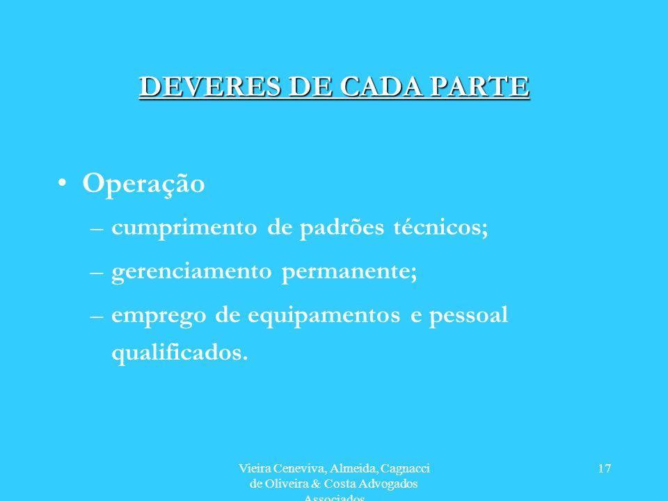 Vieira Ceneviva, Almeida, Cagnacci de Oliveira & Costa Advogados Associados 17 DEVERES DE CADA PARTE Operação –cumprimento de padrões técnicos; –gerenciamento permanente; –emprego de equipamentos e pessoal qualificados.