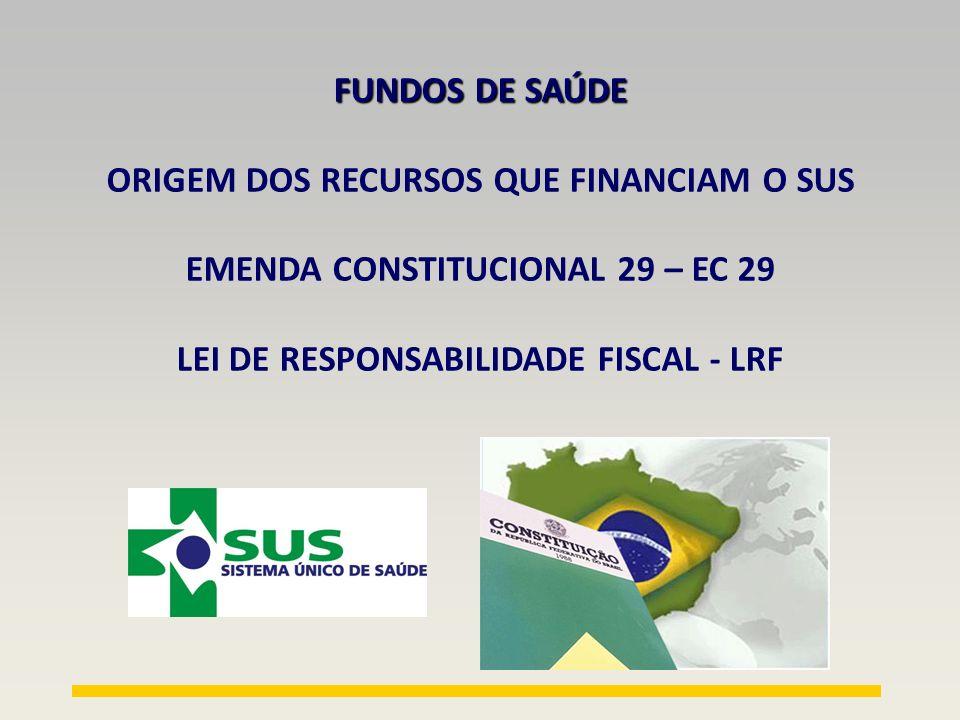 FUNDOS DE SAÚDE FUNDO NACIONAL DE SAÚDE /MINISTÉRIO DA SAÚDE FUNDO ESTADUAL DE SAÚDE Seguridade Social Orçamento Fiscal da União (RECEITAS MS ) DOAÇÕES FUNDO MUNICIPAL DE SAÚDE PAGAMENTO DE SERVIÇOS (PUBLICO E PRIVADO) PPI (BIPARTITE) EDUCAÇÃO PERMANENTE PAGAMENTO DE PRESTADORES TRIPARTITE DOAÇÕES PAB SIA APAC CNRAC SIAB PAB VARIÁVEL RECEITAS ESTADUAIS AIHCONVÊNIOS SALÁRIOS CUSTEIO RECEITAS MUNICIPAIS