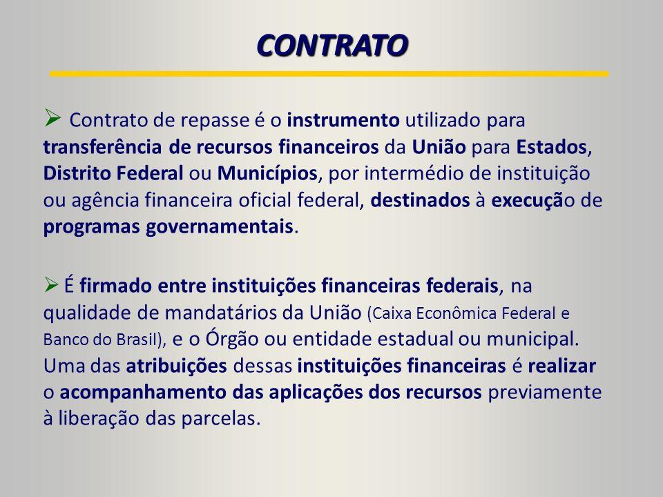 Contrato de repasse é o instrumento utilizado para transferência de recursos financeiros da União para Estados, Distrito Federal ou Municípios, por intermédio de instituição ou agência financeira oficial federal, destinados à execução de programas governamentais.