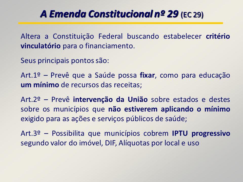 A Emenda Constitucional nº 29 (EC 29) Altera a Constituição Federal buscando estabelecer critério vinculatório para o financiamento.