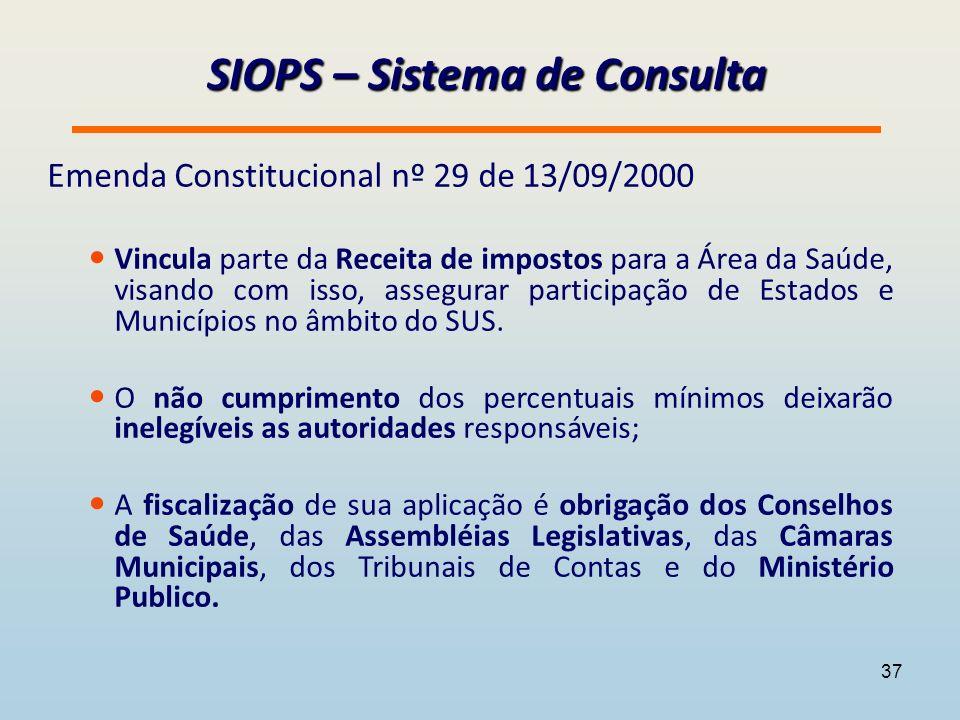 SIOPS – Sistema de Consulta Emenda Constitucional nº 29 de 13/09/2000 Vincula parte da Receita de impostos para a Área da Saúde, visando com isso, assegurar participação de Estados e Municípios no âmbito do SUS.