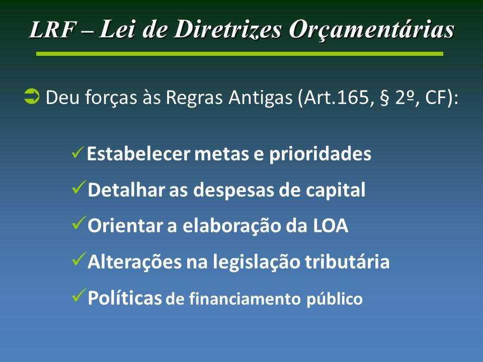 LRF – Lei de Diretrizes Orçamentárias Deu forças às Regras Antigas (Art.165, § 2º, CF): Estabelecer metas e prioridades Detalhar as despesas de capital Orientar a elaboração da LOA Alterações na legislação tributária Políticas de financiamento público