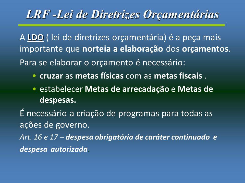LRF -Lei de Diretrizes Orçamentárias LDO A LDO ( lei de diretrizes orçamentária) é a peça mais importante que norteia a elaboração dos orçamentos.