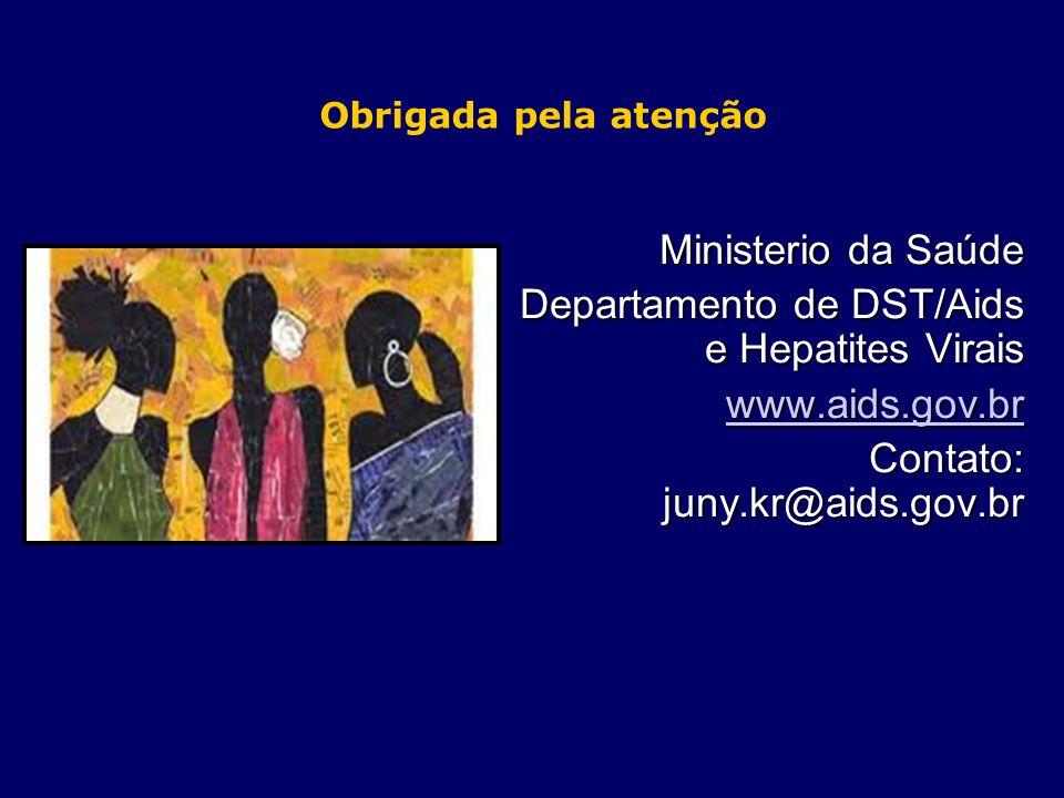 Obrigada pela atenção Ministerio da Saúde Departamento de DST/Aids e Hepatites Virais www.aids.gov.br Contato: juny.kr@aids.gov.br