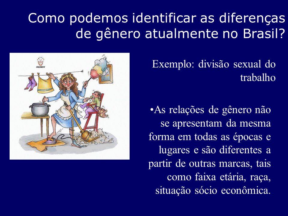 Como podemos identificar as diferenças de gênero atualmente no Brasil? As relações de gênero não se apresentam da mesma forma em todas as épocas e lug