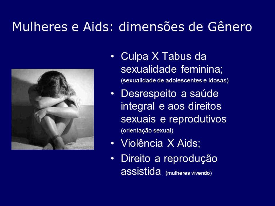 Mulheres e Aids: dimensões de Gênero Culpa X Tabus da sexualidade feminina; (sexualidade de adolescentes e idosas) Desrespeito a saúde integral e aos