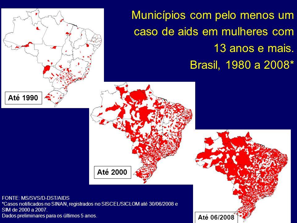 Municípios com pelo menos um caso de aids em mulheres com 13 anos e mais. Brasil, 1980 a 2008* Até 1990 Até 2000 Até 06/2008 FONTE: MS/SVS/D-DST/AIDS