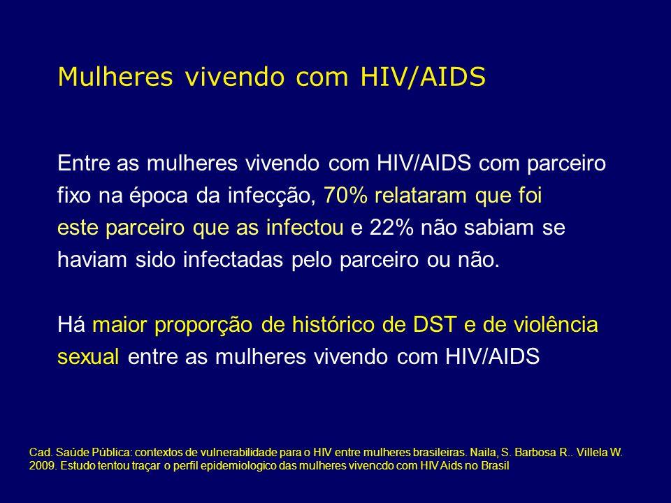 Mulheres vivendo com HIV/AIDS Entre as mulheres vivendo com HIV/AIDS com parceiro fixo na época da infecção, 70% relataram que foi este parceiro que a