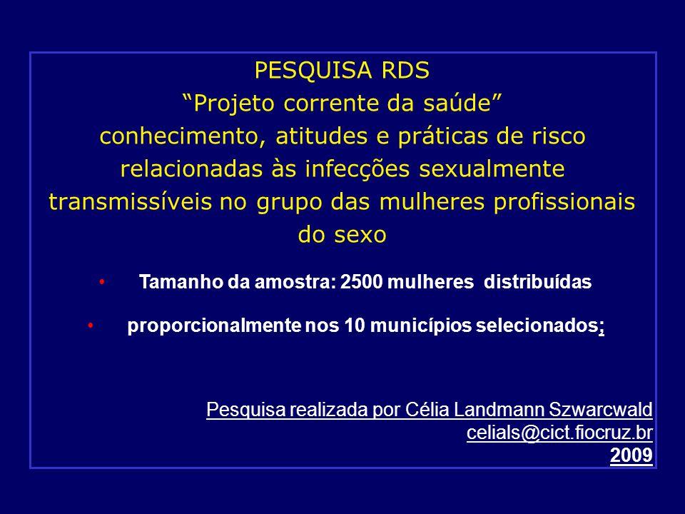 PESQUISA RDS Projeto corrente da saúde conhecimento, atitudes e práticas de risco relacionadas às infecções sexualmente transmissíveis no grupo das mu