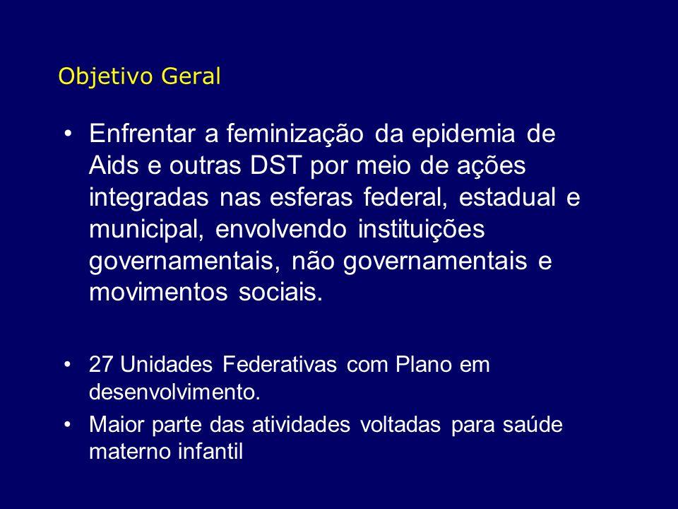 Objetivo Geral Enfrentar a feminização da epidemia de Aids e outras DST por meio de ações integradas nas esferas federal, estadual e municipal, envolv