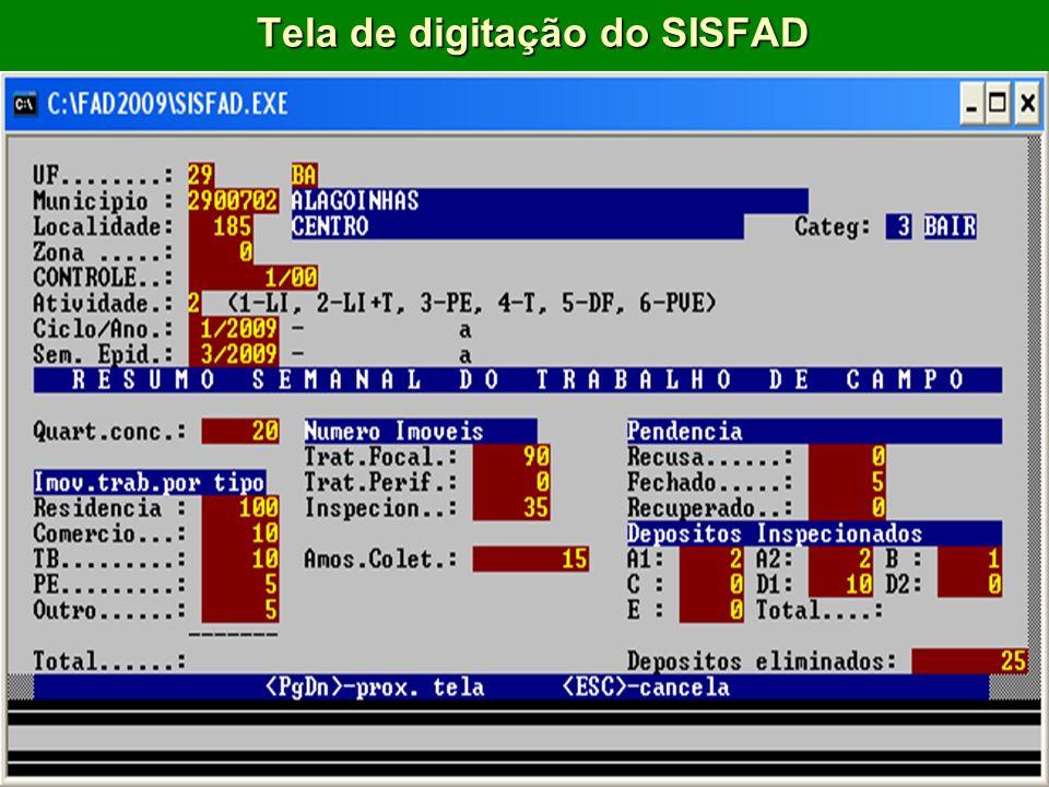 Tela de digitação do SISFAD
