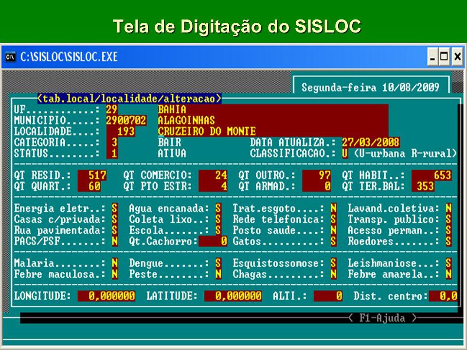 Tela de Digitação do SISLOC