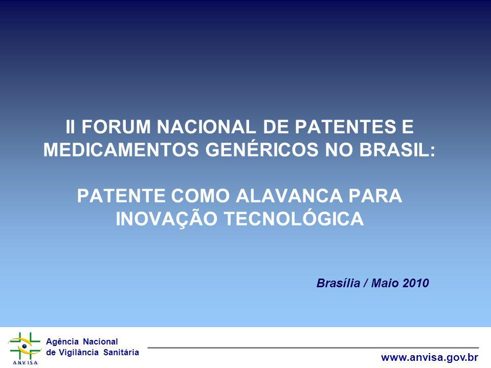 Agência Nacional de Vigilância Sanitária www.anvisa.gov.br II FORUM NACIONAL DE PATENTES E MEDICAMENTOS GENÉRICOS NO BRASIL: PATENTE COMO ALAVANCA PAR
