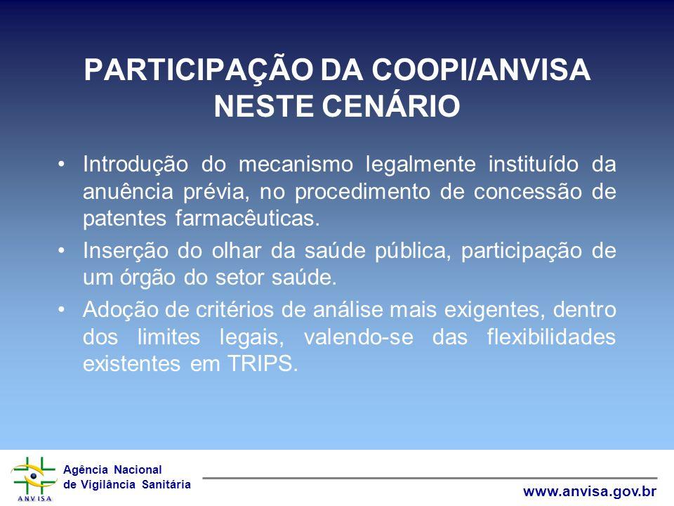 Agência Nacional de Vigilância Sanitária www.anvisa.gov.br PARTICIPAÇÃO DA COOPI/ANVISA NESTE CENÁRIO Introdução do mecanismo legalmente instituído da