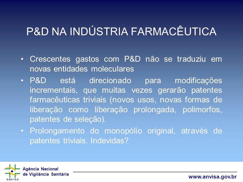 Agência Nacional de Vigilância Sanitária www.anvisa.gov.br P&D NA INDÚSTRIA FARMACÊUTICA Crescentes gastos com P&D não se traduziu em novas entidades