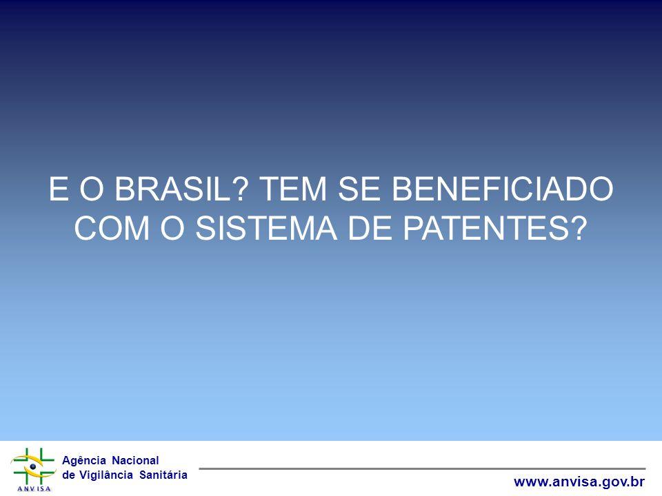 Agência Nacional de Vigilância Sanitária www.anvisa.gov.br E O BRASIL? TEM SE BENEFICIADO COM O SISTEMA DE PATENTES?